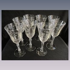 "Eight Libbey Rock Crystal Etched 8"" Goblets"