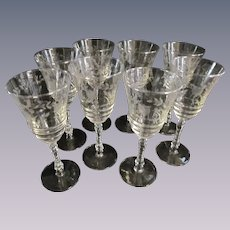 """Eight Libbey Rock Crystal Etched 8"""" Goblets"""