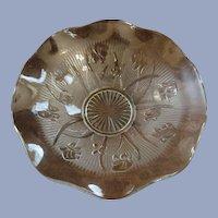 "Iris and Herringbone Crystal 11 1/2"" Ruffled Bowl by Jeannette"