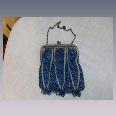 Art Deco Swag Glass Beaded Handbag Clutch Purse