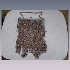 Art Nouveau French France Sterling Glass Beaded handbag Purse
