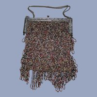 Art Nouveau French France Sterling Glass Beaded handbag Purse