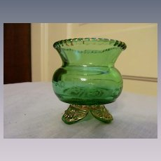 EAPG Colorado Green Toothpick Holder US Glass, Etched Mary, Dated