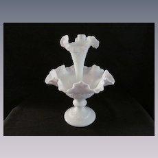 Fenton Milk Diamond Lace Epergne