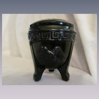 Black Amethyst Greek Key and Birds Vase with Flower Frog, L E Smith