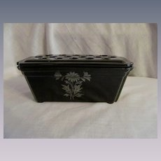 Black Glass Silver Overlay Window Box Planter Vase with Flower Frog
