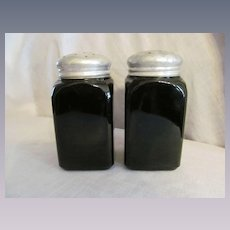 McKee Black Glass Flour and Sugar Shakers