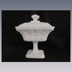 "Paneled Beaded Grape 7""  Candy Dish Comport"