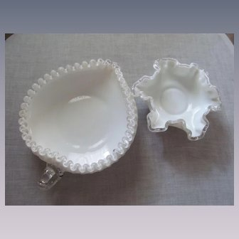 Fenton Silver Crest Heart Bowl and Ruffled Bowl