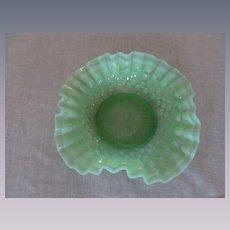 Fenton Green Opalescent Hobnail Bowl