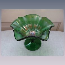Fenton Green Carnival Stippled Ray Comport Compote