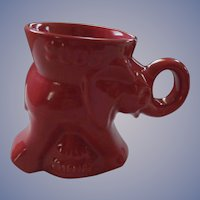 Frankoma Flame Red Political Republican Elephant Mug, Bush & Cheney