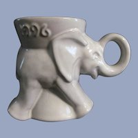 Frankoma Pottery Political Republican Elephant Mug, Gray/White Sand