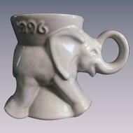 Frankoma Pottery Political Republican Elephant Mug, Gray/White Sand