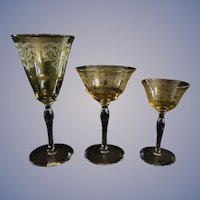 32 Piece Set Blown Elegant Yellow Topaz Etched Goblets Stems, Cocktails, Wines and Waters