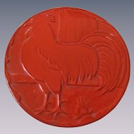 Frankoma Flame Red Rooster Trivet, Hot Plate