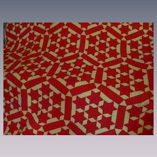 """Red Star & Mellow Yellow Cotton Quilt, 78"""" X 84"""""""