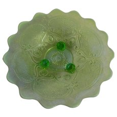 Northwood Green Opalescent Lattice Medallion Bowl