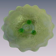 Northwood Green Opalescent Lattice Medallion Bowl