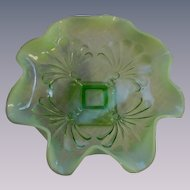 Jefferson Green Opalescent Beaded Fan Footed Bowl