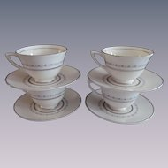Royal Doulton Tiara H4915, 4 Demitasse Cup and Saucer Set