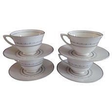 Royal Doulton Tiara H4915, 4 Demitasse Cup and Saucer Set