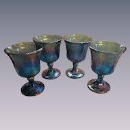 Indiana Blue Carnival Harvest Grape Goblets, 4pc Set