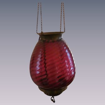 Cranberry Swirl Hanging Ceiling Light Fixture