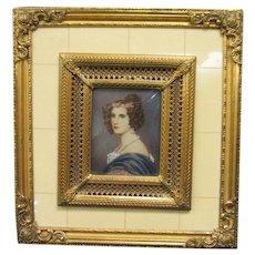 Miniature Portrait, Amalie Von Schintling, Gallery of Beauties, Signed