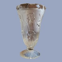 "Jeannette Iris and Herringbone 9"" Crystal Vase"