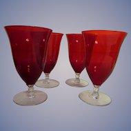 Cambridge Glass 8oz Ruby and Crystal Stem 4 Goblet Set, Stems