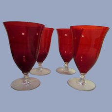 Cambridge Glass 8oz Ruby and Crystal Stem 4 Goblet Set, Stems