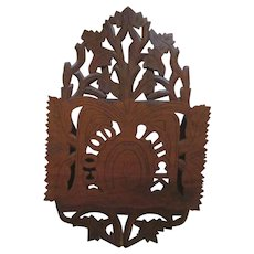"Victorian Walnut Good Luck Hand Carved 27.5"" Wall Pocket"