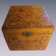 Flemish Art Christmas Poinsettia Wood Box