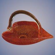Mid Century Orange Murano Gold Fleck Confetti Handled Dish