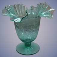 "Blenko Crackle Sea Green 8"" Footed Bowl, Comport"