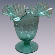 """Blenko Crackle Sea Green 8"""" Footed Bowl, Comport"""