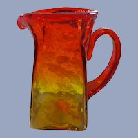 Blenko Tangerine 1950;s Textured Pitcher, Sandblasted Mark