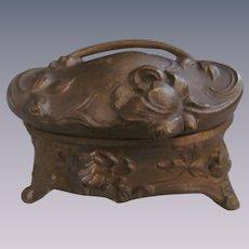 Art Nouveau Metal Vanity Trinket Jewelry Box