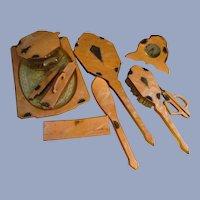 Art Deco Rhinestone 9pc Celluloid Vanity Dresser Set