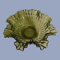Fenton Green Thumbprint Large Crimped and Ruffled Bowl