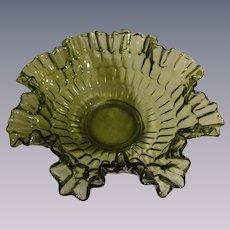Fenton Green Thumbprint Large Crimped and Ruffled Bowl