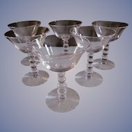 Six Candlewick Imperial Wine Goblets