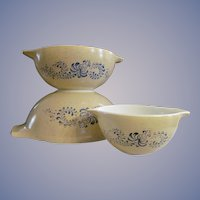 Pyrex Homestead Cinderella 3pc Mixing Bowls #441, 443, 444