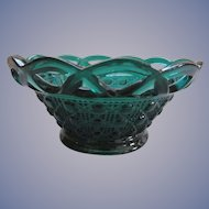Imperial Teal Blue Button and Cane, Open Lace Bowl
