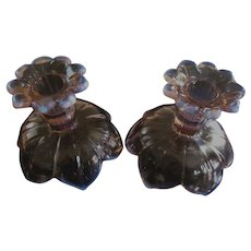 Pink Opalescent Petal Candle Holders by Westmoreland Glass