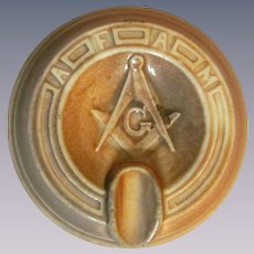 Monmouth Western Stoneware Freemasons Ashtray