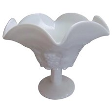 "Westmoreland Paneled Grape 8"" Ruffled Vase"