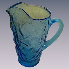 Crinkle Seneca Driftwood Peacock Blue 32oz Pitcher