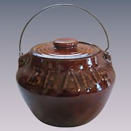 Stoneware Bean Pot Crock, Swing Handle